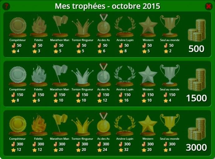 trophées de belote